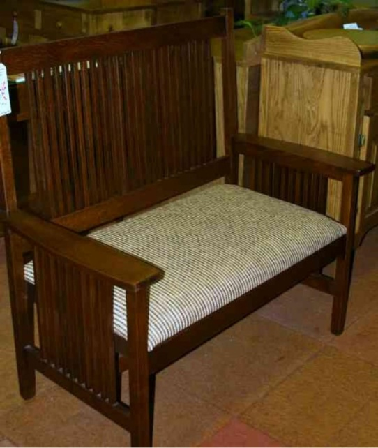 Oak Mission Loveseat Mennonite Furniture Ontario at Lloyd's Furniture Gallery in Schomberg